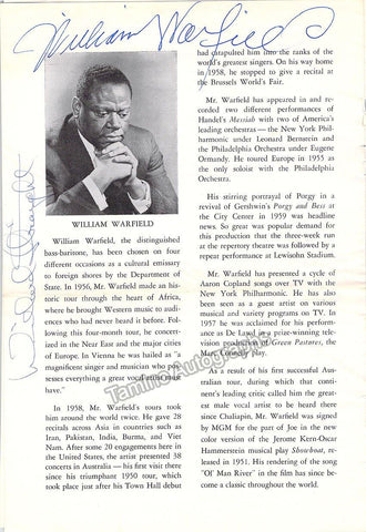 Warfield, William - Signed Program 1962