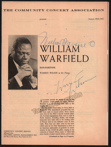 Warfield, William - Signed Program New York 1964