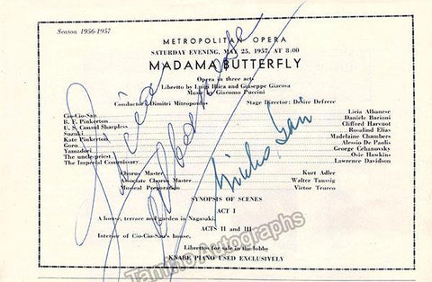 Albanese, Licia - Signed Program Clip Madama Butterfly 1957