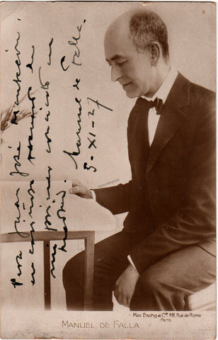 De Falla, Manuel - Signed Photo Postcard 1927 - TaminoAutographs.com
