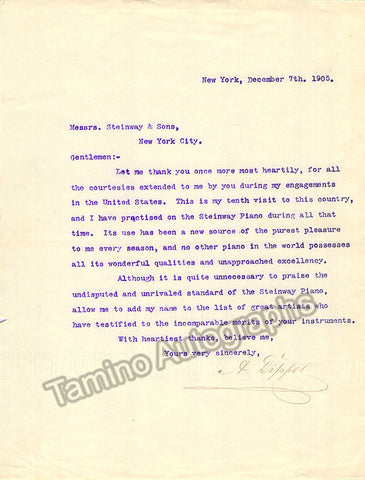 Dippel, Andreas - Typed Letter Signed 1905 - TaminoAutographs.com