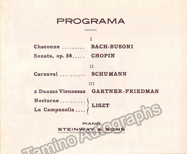 Friedman, Ignaz - Concert Program 1920 | Tamino Autographs