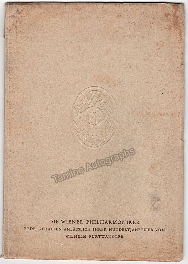 Furtwangler, Wilhelm - Signed Photo Booklet Centenary Vienna Philharmonic 1942