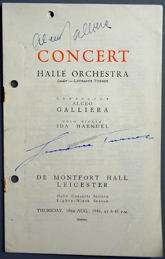 Galliera, Alceo - Turner, Laurance - Signed Program Leicester 1946