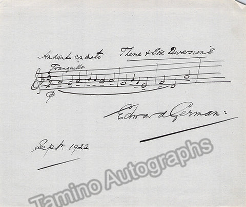German, Edward - Autograph Music Quote Signed 1922 - TaminoAutographs.com
