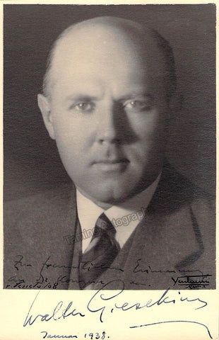Gieseking, Walter - Signed Photo 1938