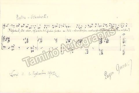 Gura, Eugen - Autograph Music Quote Signed 1902