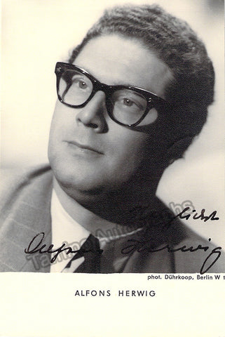 Alfons Herwig Signed Photo Postcard, Alfons Herwig Autographs, Alfons Herwig