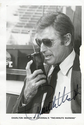 "Heston, Charlton - Signed Photo in ""Two-Minute Warning"" - TaminoAutographs.com"
