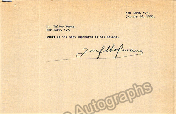 Hofmann, Jozef - Set of two typed letters signed - TaminoAutographs.com
