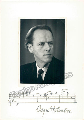 Holmboe, Vagn - Autograph Music Quote Signed + Photo - TaminoAutographs.com