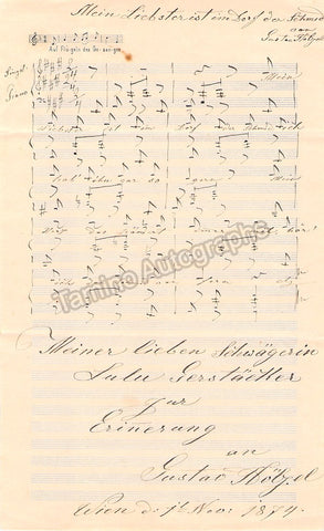 Holzel, Gustav - Autograph Music Quote Signed 1874 - TaminoAutographs.com