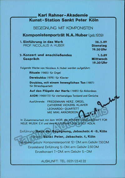 Huber, Nicolaus A. - Signed Program Cologne 1989