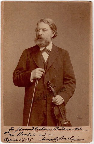 Joachim, Joseph - Signed Cabinet Photo with Violin 1895