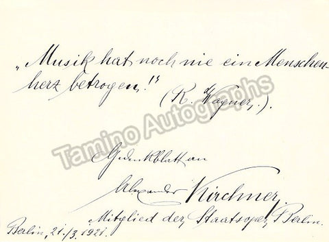 Kirchner, Alexander - Text Quote Signed 1921 - TaminoAutographs.com
