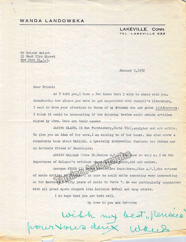 Landowska, Wanda - Lot of 12 Typed Letters Signed - TaminoAutographs.com
