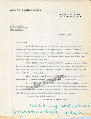 autograph landowska wanda lot of 12 typed letters signed 7