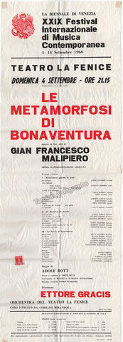 Le Metamorfosi di Bonaventura, opera by Gian Francesco Malipiero - World Premiere Poster and Program 1966