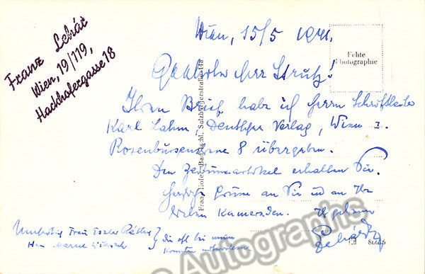 Lehar, Franz - Signed photo postcard - TaminoAutographs.com