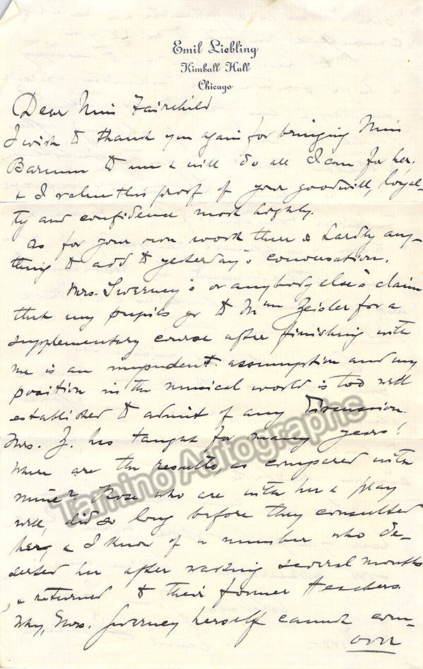 Liebling, Emil - Lot of 2 Autograph Letters Signed + Programs