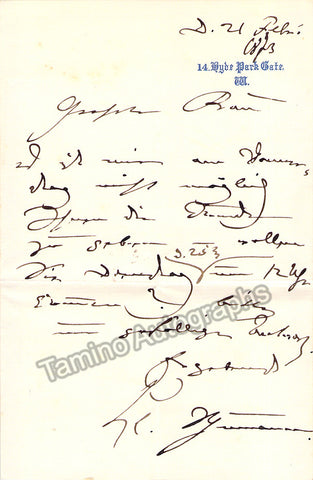 Schumann, Clara - Autograph note signed - Tamino Autographs