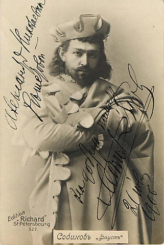 Sobinov, Leonid - Signed Photo Postcard as Faust - Tamino Autographs