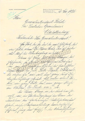 Stolzenberg, Carl - Autograph Letter Signed