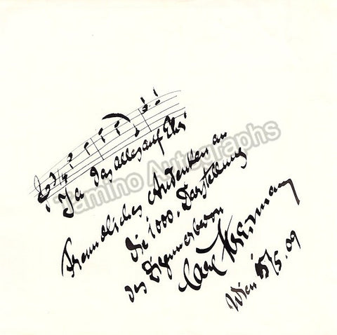 Streitmann, Carl - Autograph Music Quote from The Gypsy Baron, Signed 1909 - TaminoAutographs.com