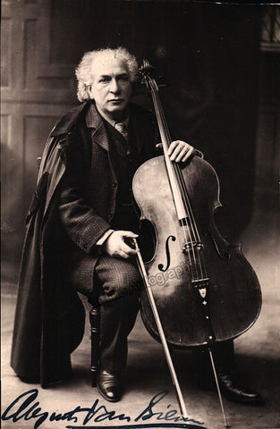 Van Biene, August - Signed Photo Postcard with Cello