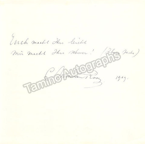 Van Rooy, Anton - Autograph Quote Signed 1909