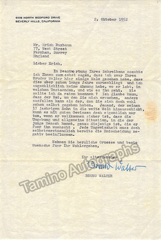 Walter, Bruno - Typed Letter Signed 1952 - TaminoAutographs.com