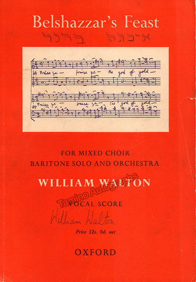 "Walton, William - Signed Printed Vocal Score ""Belshazzar´s Feast"""