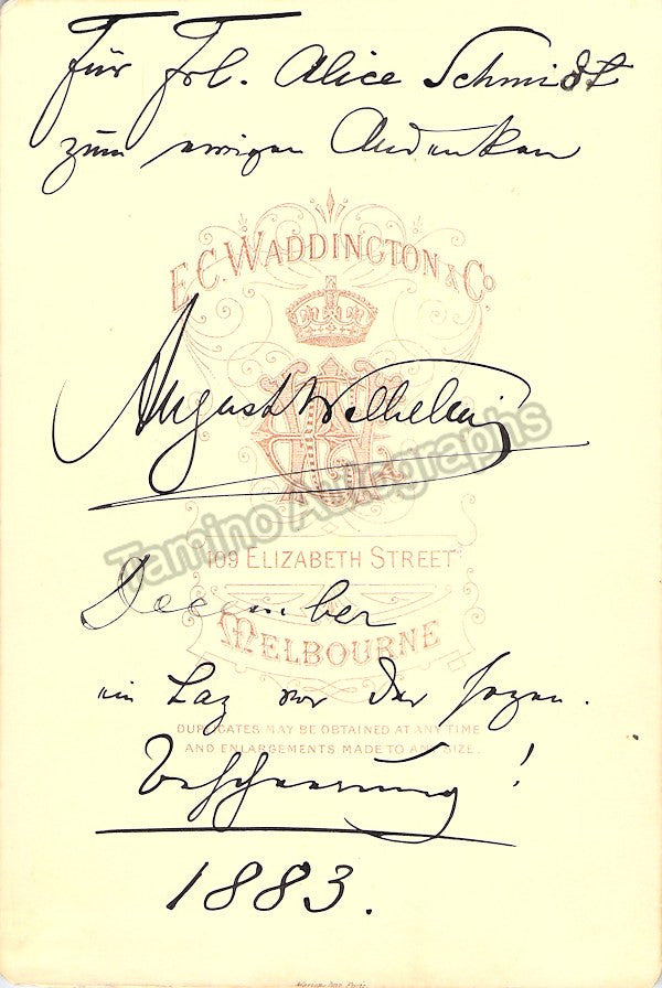 Wilhelmj, August - Signed Cabinet Photo 1883 - TaminoAutographs.com