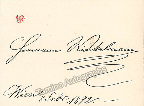 Winkelmann, Hermann - Signed Card 1892