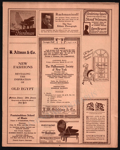 Bachkaus, Wilhelm - Concert Program Carnegie Hall 1923