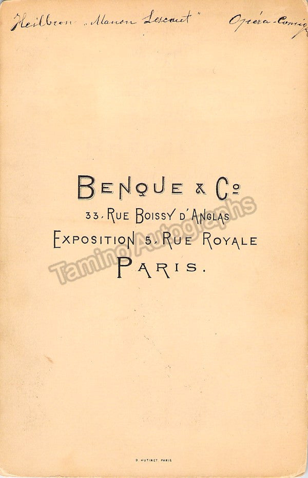 Heilbron, Marie - Cabinet Photo as Manon - World Premiere 1884 - Tamino Autographs  - 2