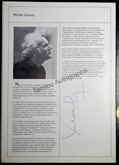 Corboz, Michel - Signed Program Buenos Aires 1983