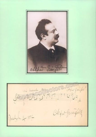 Grunfeld, Alfred - Signed Music Quote and Photograph