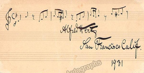 Hertz, Alfred - Autograph Music Quote Signed 1931