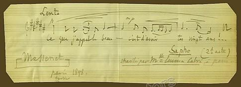 Massenet, Jules - Autograph Music Quote from Sapho - Signed