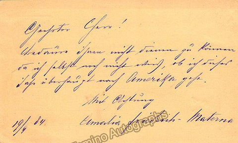 Materna, Amalie - Autograph Note Signed 1884