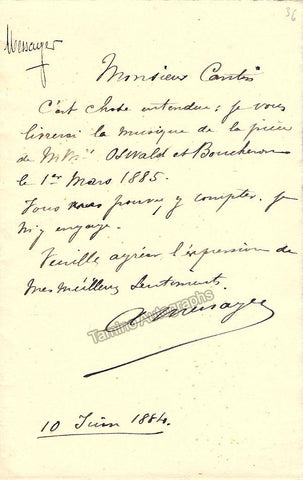 Messager, Andre - Signed Note 1884 & Autograph Music Quote Signed