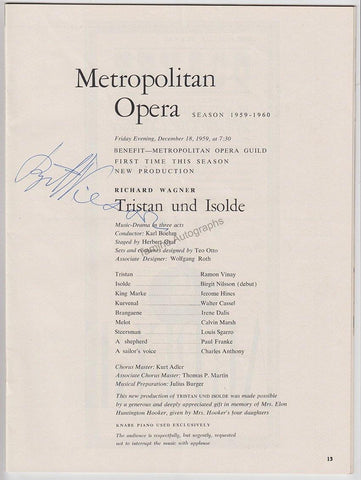 Nilsson, Birgit - Signed Program Debut Metropolitan 1959