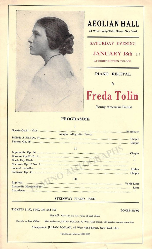 Pianist Playbill Lot - New York 1909-1926