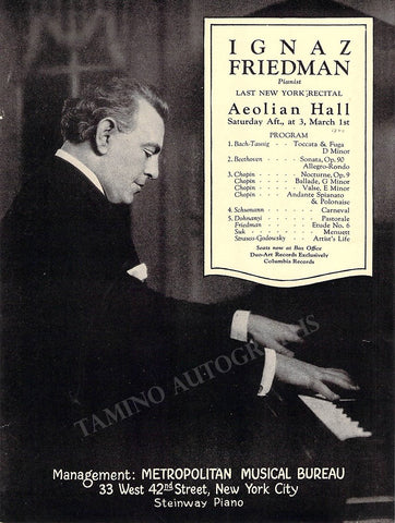 Pianist Program and Playbill Lot New York 1918-1927