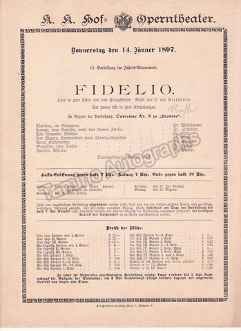 Imperial & Royal Court Opera, Vienna - Playbills 1894-1897 - Tamino Autographs  - 1
