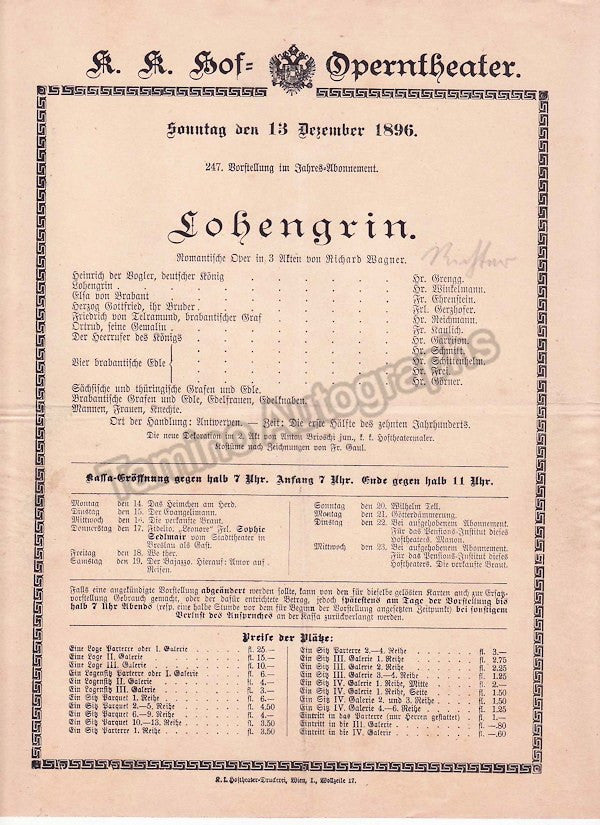 Imperial & Royal Court Opera, Vienna - Playbills 1894-1897 - Tamino Autographs  - 2