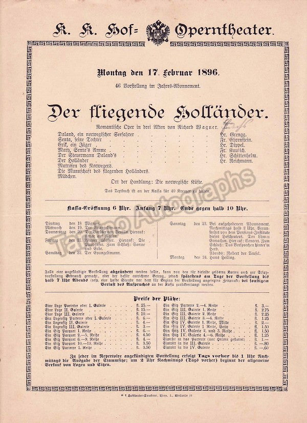 Imperial & Royal Court Opera, Vienna - Playbills 1894-1897 - Tamino Autographs  - 3