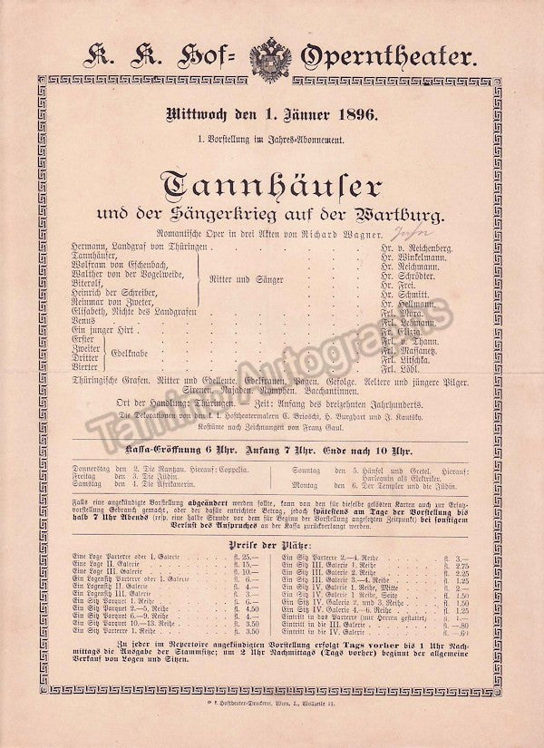 Imperial & Royal Court Opera, Vienna - Playbills 1894-1897 - Tamino Autographs  - 4