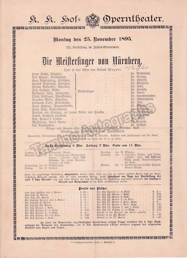 Imperial & Royal Court Opera, Vienna - Playbills 1894-1897 - Tamino Autographs  - 5